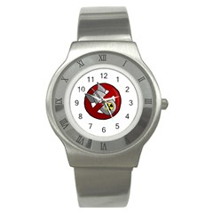 No Nuclear Weapons Stainless Steel Watch by Valentinaart