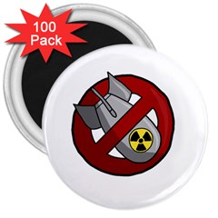 No Nuclear Weapons 3  Magnets (100 Pack) by Valentinaart