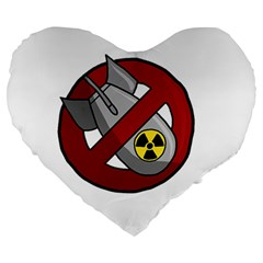 No Nuclear Weapons Large 19  Premium Heart Shape Cushions by Valentinaart