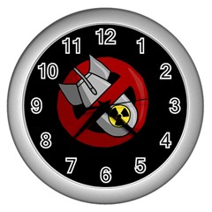 No Nuclear Weapons Wall Clocks (silver)  by Valentinaart