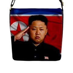 Kim Jong Un Flap Messenger Bag (l)  by Valentinaart