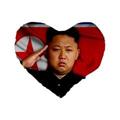 Kim Jong Un Standard 16  Premium Flano Heart Shape Cushions by Valentinaart