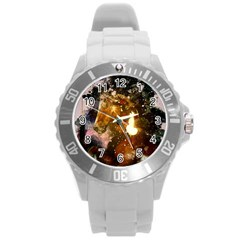 Wonderful Horse In Watercolors Round Plastic Sport Watch (l) by FantasyWorld7