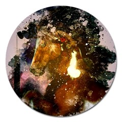 Wonderful Horse In Watercolors Magnet 5  (round) by FantasyWorld7