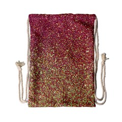 Rose Gold Sparkly Glitter Texture Pattern Drawstring Bag (small) by paulaoliveiradesign