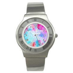 Pink And Purple Galaxy Watercolor Background  Stainless Steel Watch by paulaoliveiradesign