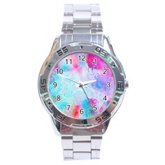 Pink And Purple Galaxy Watercolor Background  Stainless Steel Analogue Watch by paulaoliveiradesign
