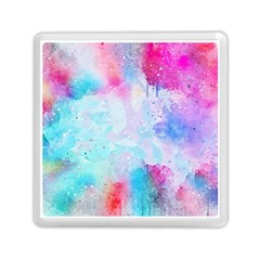 Pink And Purple Galaxy Watercolor Background  Memory Card Reader (square)  by paulaoliveiradesign