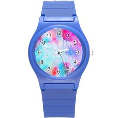 Pink And Purple Galaxy Watercolor Background  Round Plastic Sport Watch (s) by paulaoliveiradesign