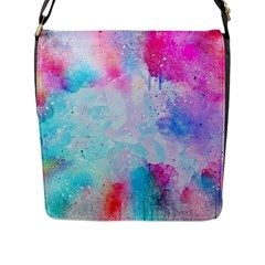 Pink And Purple Galaxy Watercolor Background  Flap Messenger Bag (l)  by paulaoliveiradesign
