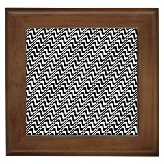 Black And White Waves Illusion Pattern Framed Tiles by paulaoliveiradesign