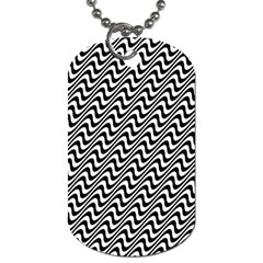 Black And White Waves Illusion Pattern Dog Tag (one Side) by paulaoliveiradesign