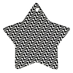 Black And White Waves Illusion Pattern Star Ornament (two Sides) by paulaoliveiradesign