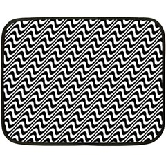 Black And White Waves Illusion Pattern Double Sided Fleece Blanket (mini)  by paulaoliveiradesign