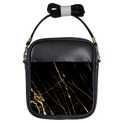 Black Marble Girls Sling Bags by 8fugoso