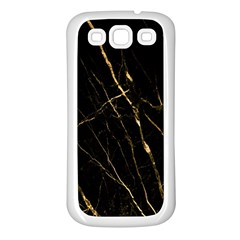 Black Marble Samsung Galaxy S3 Back Case (white) by 8fugoso