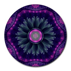 Beautiful Hot Pink And Gray Fractal Anemone Kisses Round Mousepads by beautifulfractals