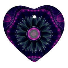 Beautiful Hot Pink And Gray Fractal Anemone Kisses Ornament (heart) by beautifulfractals