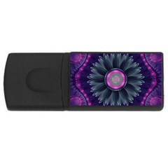 Beautiful Hot Pink And Gray Fractal Anemone Kisses Rectangular Usb Flash Drive by jayaprime