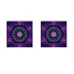Beautiful Hot Pink And Gray Fractal Anemone Kisses Cufflinks (square) by jayaprime