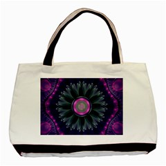 Beautiful Hot Pink And Gray Fractal Anemone Kisses Basic Tote Bag by jayaprime