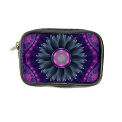 Beautiful Hot Pink And Gray Fractal Anemone Kisses Coin Purse by jayaprime