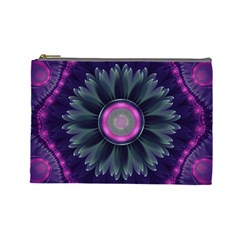 Beautiful Hot Pink And Gray Fractal Anemone Kisses Cosmetic Bag (large)  by beautifulfractals