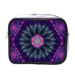 Beautiful Hot Pink And Gray Fractal Anemone Kisses Mini Toiletries Bags by jayaprime