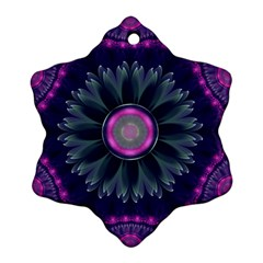 Beautiful Hot Pink And Gray Fractal Anemone Kisses Ornament (snowflake) by jayaprime