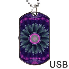 Beautiful Hot Pink And Gray Fractal Anemone Kisses Dog Tag Usb Flash (one Side) by jayaprime