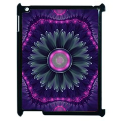 Beautiful Hot Pink And Gray Fractal Anemone Kisses Apple Ipad 2 Case (black) by beautifulfractals