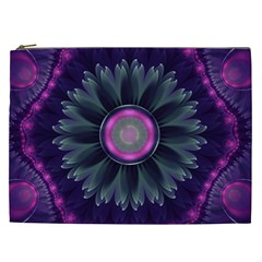 Beautiful Hot Pink And Gray Fractal Anemone Kisses Cosmetic Bag (xxl)  by jayaprime