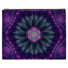 Beautiful Hot Pink And Gray Fractal Anemone Kisses Cosmetic Bag (xxxl)  by beautifulfractals