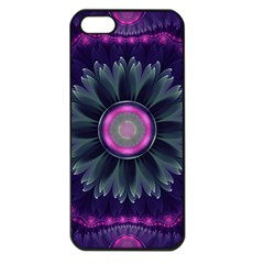 Beautiful Hot Pink And Gray Fractal Anemone Kisses Apple Iphone 5 Seamless Case (black) by jayaprime