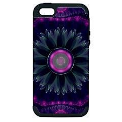 Beautiful Hot Pink And Gray Fractal Anemone Kisses Apple Iphone 5 Hardshell Case (pc+silicone) by jayaprime