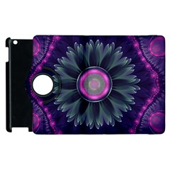 Beautiful Hot Pink And Gray Fractal Anemone Kisses Apple Ipad 2 Flip 360 Case by jayaprime