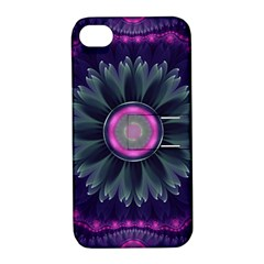 Beautiful Hot Pink And Gray Fractal Anemone Kisses Apple Iphone 4/4s Hardshell Case With Stand by beautifulfractals