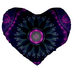 Beautiful Hot Pink And Gray Fractal Anemone Kisses Large 19  Premium Flano Heart Shape Cushions by beautifulfractals