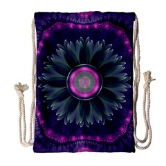Beautiful Hot Pink And Gray Fractal Anemone Kisses Drawstring Bag (large) by jayaprime