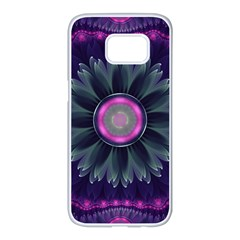 Beautiful Hot Pink And Gray Fractal Anemone Kisses Samsung Galaxy S7 Edge White Seamless Case by jayaprime