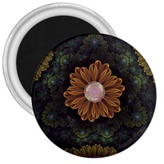 Abloom In Autumn Leaves With Faded Fractal Flowers 3  Magnets by jayaprime