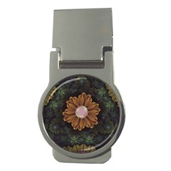 Abloom In Autumn Leaves With Faded Fractal Flowers Money Clips (round)  by jayaprime