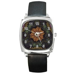 Abloom In Autumn Leaves With Faded Fractal Flowers Square Metal Watch by beautifulfractals