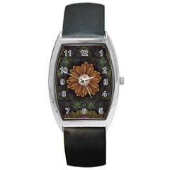 Abloom In Autumn Leaves With Faded Fractal Flowers Barrel Style Metal Watch by jayaprime