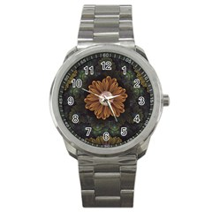 Abloom In Autumn Leaves With Faded Fractal Flowers Sport Metal Watch by beautifulfractals