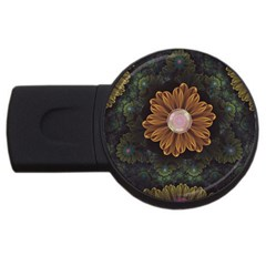 Abloom In Autumn Leaves With Faded Fractal Flowers Usb Flash Drive Round (4 Gb) by beautifulfractals