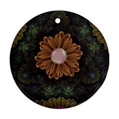 Abloom In Autumn Leaves With Faded Fractal Flowers Round Ornament (two Sides) by beautifulfractals
