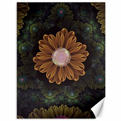 Abloom In Autumn Leaves With Faded Fractal Flowers Canvas 36  X 48   by jayaprime