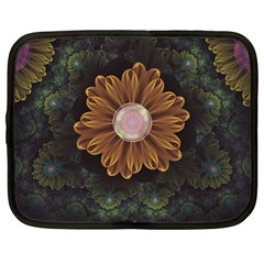 Abloom In Autumn Leaves With Faded Fractal Flowers Netbook Case (xl)  by jayaprime