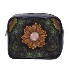 Abloom In Autumn Leaves With Faded Fractal Flowers Mini Toiletries Bag 2 Side by jayaprime